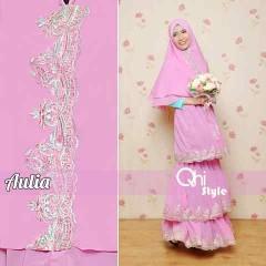 Pusat Gamis Terbaru Aulia by Qhi Style Dusty Pink