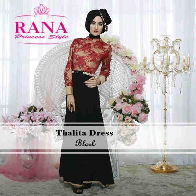 Pusat Grosir Busana Muslim Thalitha Dress by Rana Black