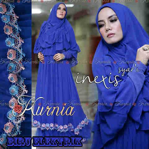 Baju Muslim Wanita Terbaru inexis vol2 Biru Elektrik