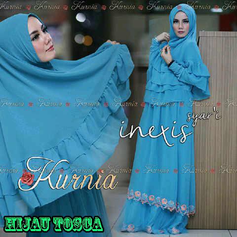 Inexis Vol 2 Hijau Tosca Baju Muslim Gamis Modern