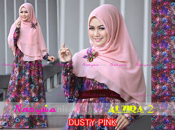Al Zira 2 Dusty Pink Baju Muslim Gamis Modern