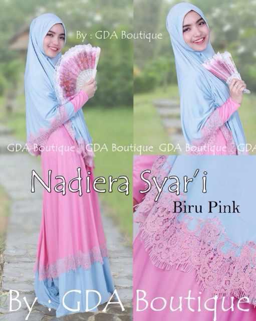 Busana Muslim Terbaru 2015 Nadiera Syar'i by GDA Biru Pink