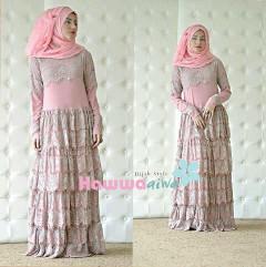 Busana Muslim Terbaru Fringe by Hawwaaiwa Dusty Muda - Brokat Pink