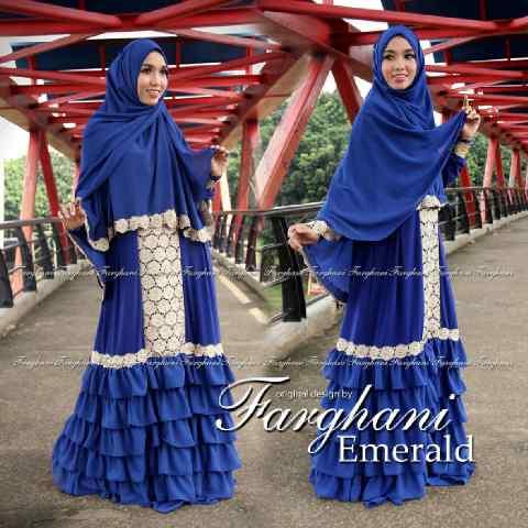 Busana Muslim Wanita Modern Emerald by Farghani Biru Elektrik