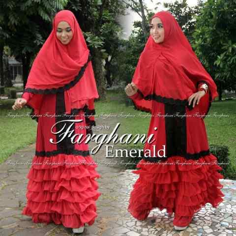 Busana Muslim Wanita Modern Emerald by Farghani Merah