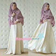 Busana Muslim Wanita Syar'i Afia Polkadot by Hawwaaiwa BW - Lavender