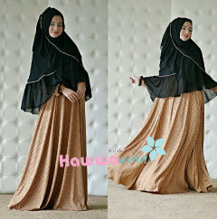 Busana Muslim Wanita Syar'i Afia Polkadot by Hawwaaiwa Coklat - Hitam