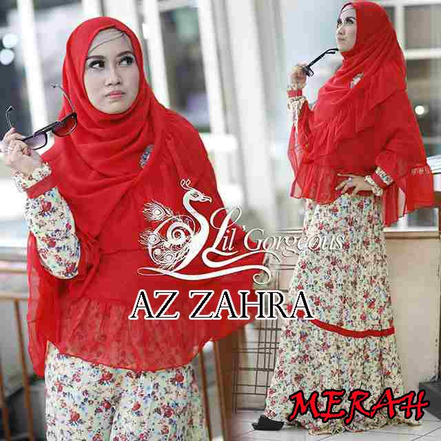 Az Zahra Merah Baju Muslim Gamis Modern