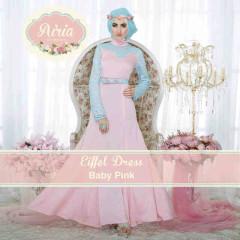 Gaun Muslim Pesta Modern Terbaru 2015 Eifell Dress by Airia Baby Pink