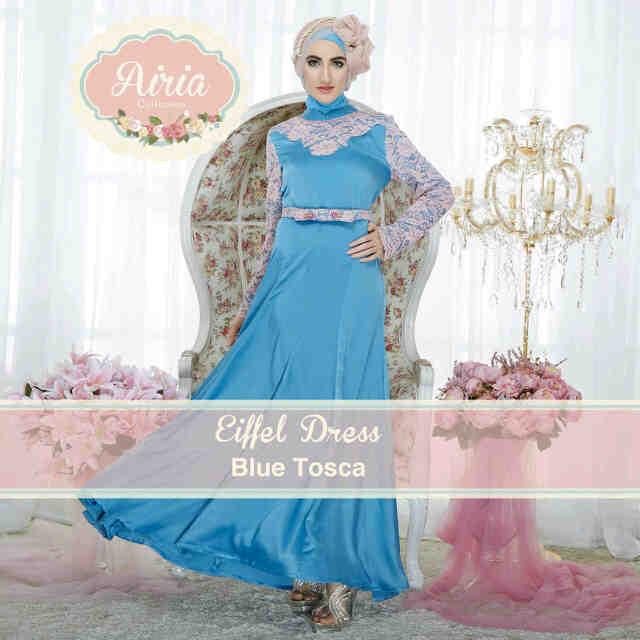 Eifell Blue Tosca Baju Muslim Gamis Modern