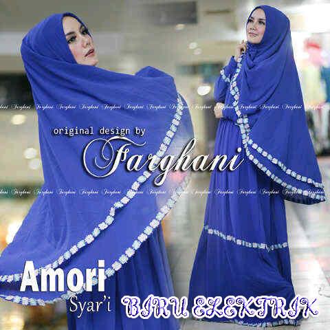 Amori Biru Elektrik Baju Muslim Gamis Modern