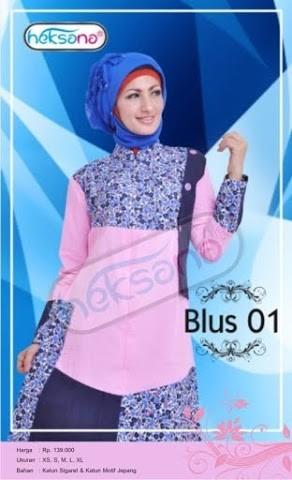 Grosir Busana Muslim Modern Blus Pink by Heksana