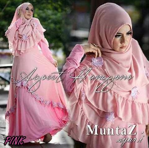 Koleksi Busana Muslim Syar'i Wanita Indonesia Muntaz by Agoes Hanggono Pink
