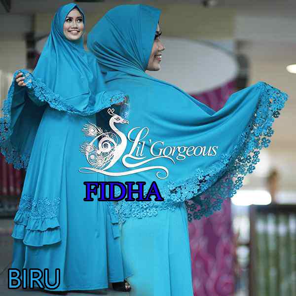 Model Busana Muslim Modern Wanita Syar'i Fidha by Lil Gorgeouse Biru