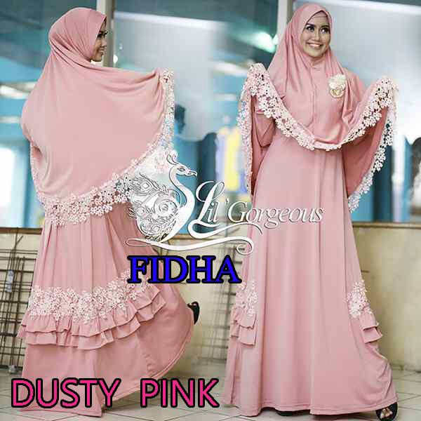 Model Busana Muslim Modern Wanita Syar'i Fidha by Lil Gorgeouse Dusty Pink