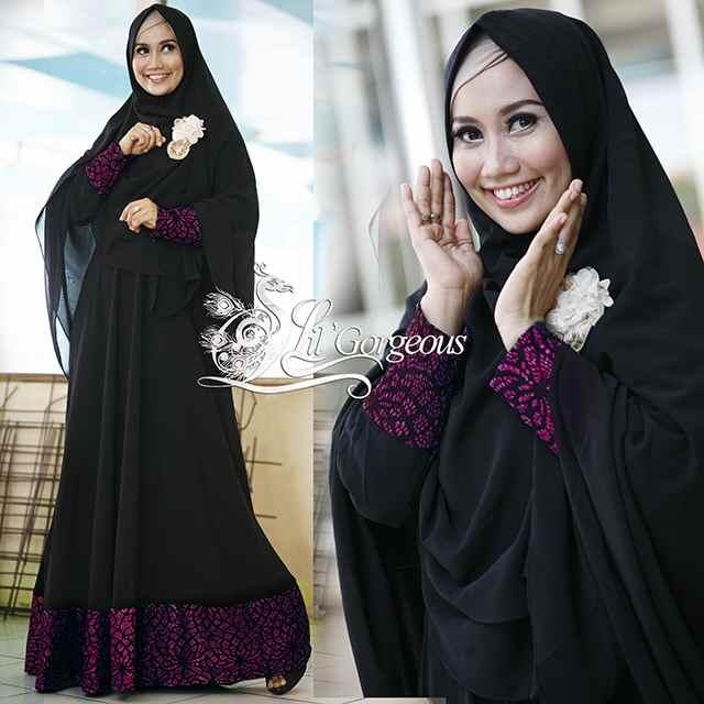 Syar I Brokat Magenta Baju Muslim Gamis Modern