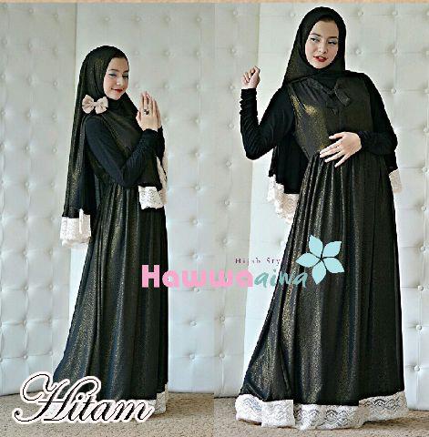 Mehla Syar I Hitam Baju Muslim Gamis Modern