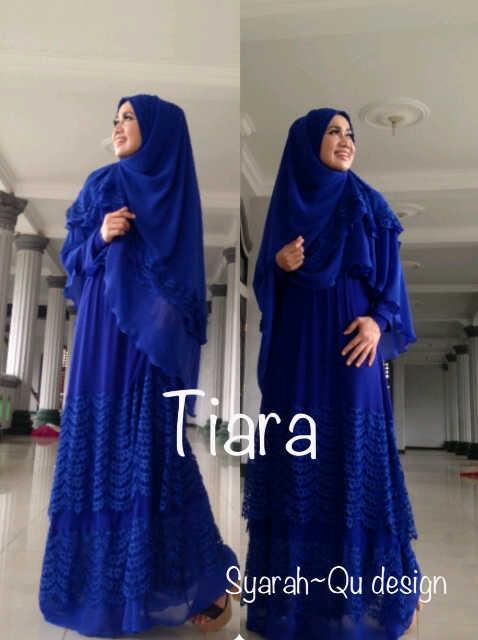 Tiara Biru Elektrik Baju Muslim Gamis Modern