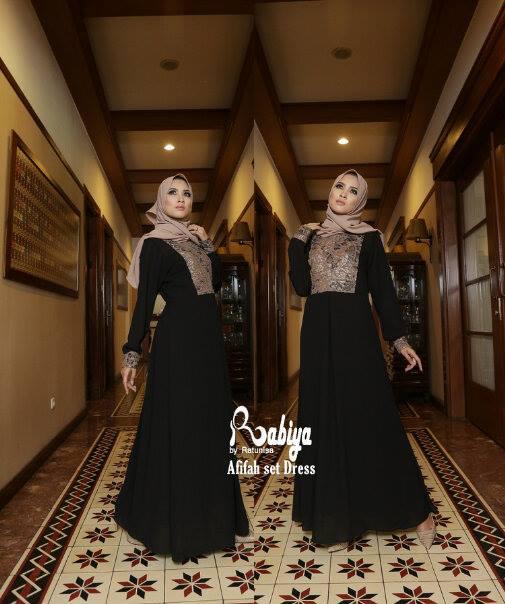 Pusat Grosir Busana Muslim Afifah set Dress by Rabiya Hitam