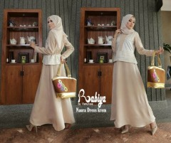 Pusat Grosir Busana Muslim Naura Dress by Rabiya Krem