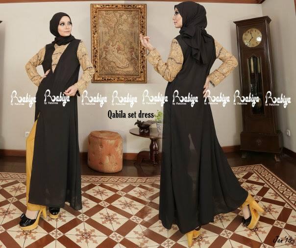 Pusat Grosir Busana Muslim Qabila set Dress by Rabiya Hitam