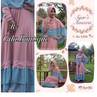 Trend Busana Muslim Ameera Syar'i by GDA Pink-Biru