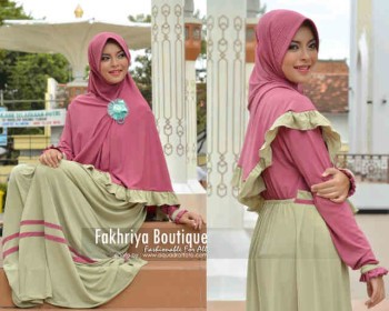 Trend Busana Muslim Syar'i Wanita Amanah Dress Syar'i by Fakhriya Dusty Pink - Hijau Melon