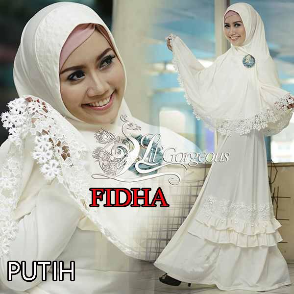 Baju Gamis Syari Modern Putih Model Gamis Terbaru