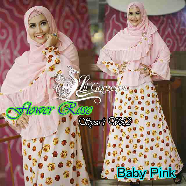 Trend Busana Muslim Wanita Terbaru Flower Rose Syar'i by Lil Gorgeous Baby Pink