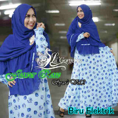 Trend Busana Muslim Wanita Terbaru Flower Rose Syar'i by Lil Gorgeous Biru Elekrtik