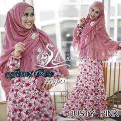 Trend Busana Muslim Wanita Terbaru Flower Rose Syar'i by Lil Gorgeous Dusty Pink