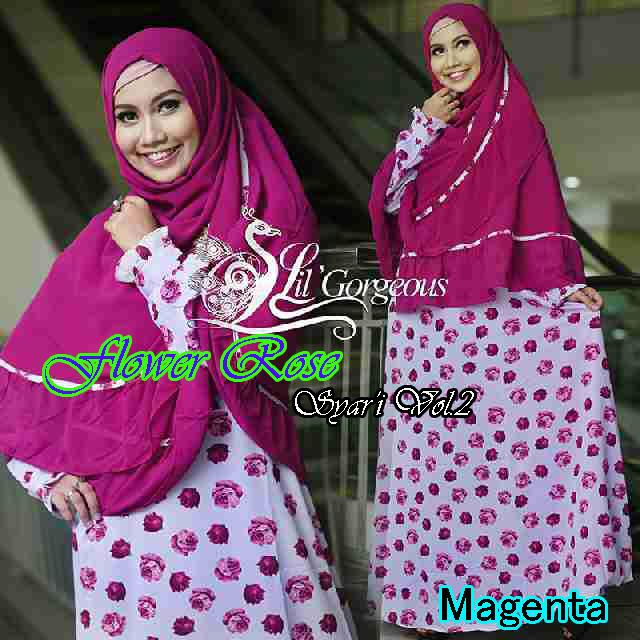 Trend Busana Muslim Wanita Terbaru Flower Rose Syar'i by Lil Gorgeous Magenta