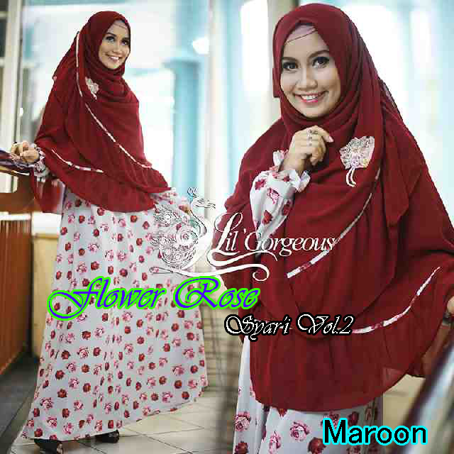 Trend Busana Muslim Wanita Terbaru Flower Rose Syar'i by Lil Gorgeous Maroon