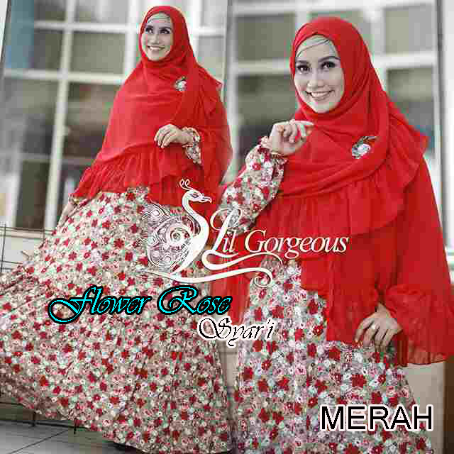 Trend Busana Muslim Wanita Terbaru Flower Rose Syar'i by Lil Gorgeous Merah