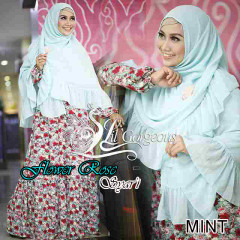 Trend Busana Muslim Wanita Terbaru Flower Rose Syar'i by Lil Gorgeous Mint