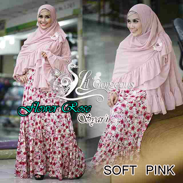 Trend Busana Muslim Wanita Terbaru Flower Rose Syar'i by Lil Gorgeous Soft Pink