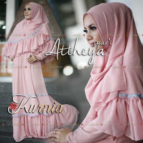 Busana Muslim Syar'i Terbaru 2015 Attheya by Kurnia Dusty Pink