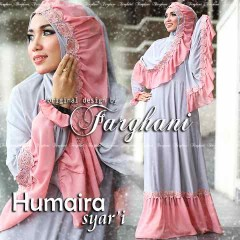 Busana Muslim Syar'i Terbaru Humaira by Farghani Grey Pink