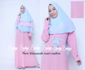 Busana Muslim Terbaru New Khazanah Syar'i Embos by Rabiya Pink