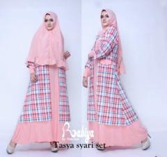 Busana Muslim Terbaru Tasya Syar'i Set by Rabiya Pink