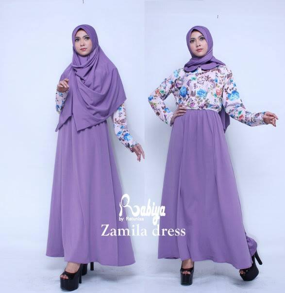 Zamila Dress Ungu Baju Muslim Gamis Modern