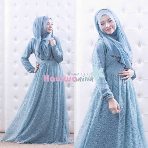 Busana Muslim Trend Terbaru Quentin by Hawwaaiwa Soft Blue