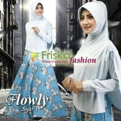 Busana Muslim Wanita Terbaru Flowly Syar'i by Friska Soft Blue