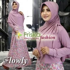 Busana Muslim Wanita Terbaru Flowly Syar'i by Friska Soft Lavender