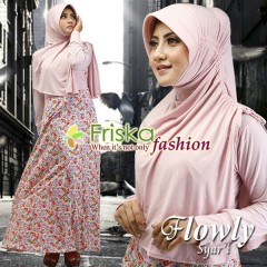 Busana Muslim Wanita Terbaru Flowly Syar'i by Friska Soft Pink