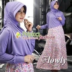 Busana Muslim Wanita Terbaru Flowly Syar'i by Friska Soft Purple