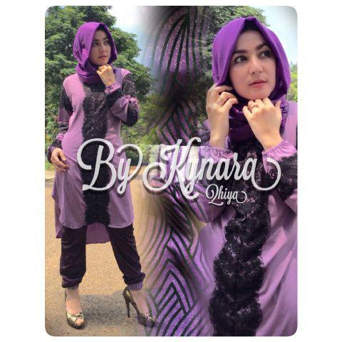 Busana Muslim Wanita Terbaru Qhiya by Kybarra Ungu