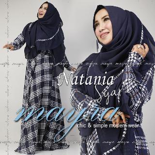 Natania Syar I Biru Dongker Baju Muslim Gamis Modern