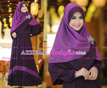 Busana Muslimah Wanita Syar'i Azzura by Naswanisa Burgundy