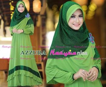 Busana Muslimah Wanita Syar'i Azzura by Naswanisa Hijau Pupus